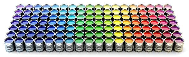 rainbow paint palette - zinn farbe stock-fotos und bilder