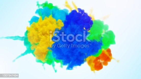 1131535585 istock photo Rainbow paint splash 1207347434