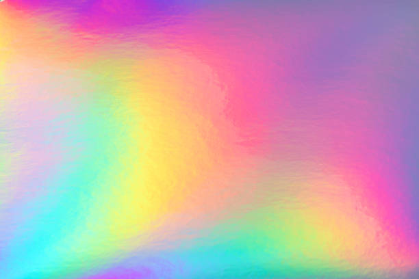 rainbow pastel colored holographic background Abstract trendy rainbow holographic background in 80s style. Blurred texture in violet, pink and mint bright neon colors. psychedelic stock pictures, royalty-free photos & images