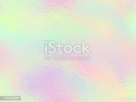 Rainbow Pastel Neon Holographic Foil Ice Cute Unicorn Background Shiny Frosted Stained Glass Pattern Metallic Iridescent Colorful Texture Seamless Digitally Generated Image Gradient Design Template for presentation, flyer, card, poster, brochure, banner