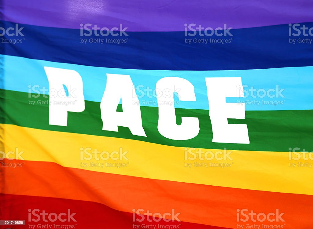 rainbow Peace flag with written PACE in italy stock photo