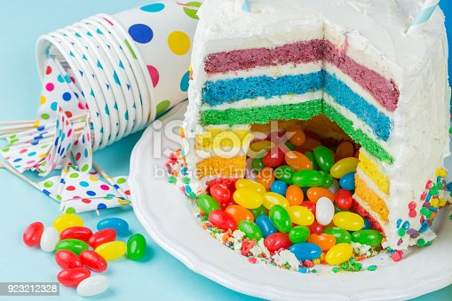 istock Rainbow pinata cake with candies - birthday background, card, concept 923212328