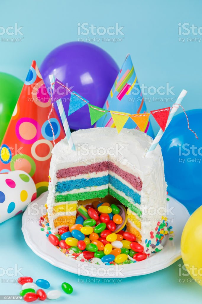 Stupendous Rainbow Pinata Cake With Candies Birthday Background Card Concept Birthday Cards Printable Opercafe Filternl