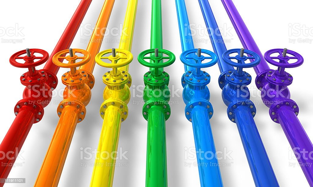Rainbow pipelines with valves and colors royalty-free stock photo