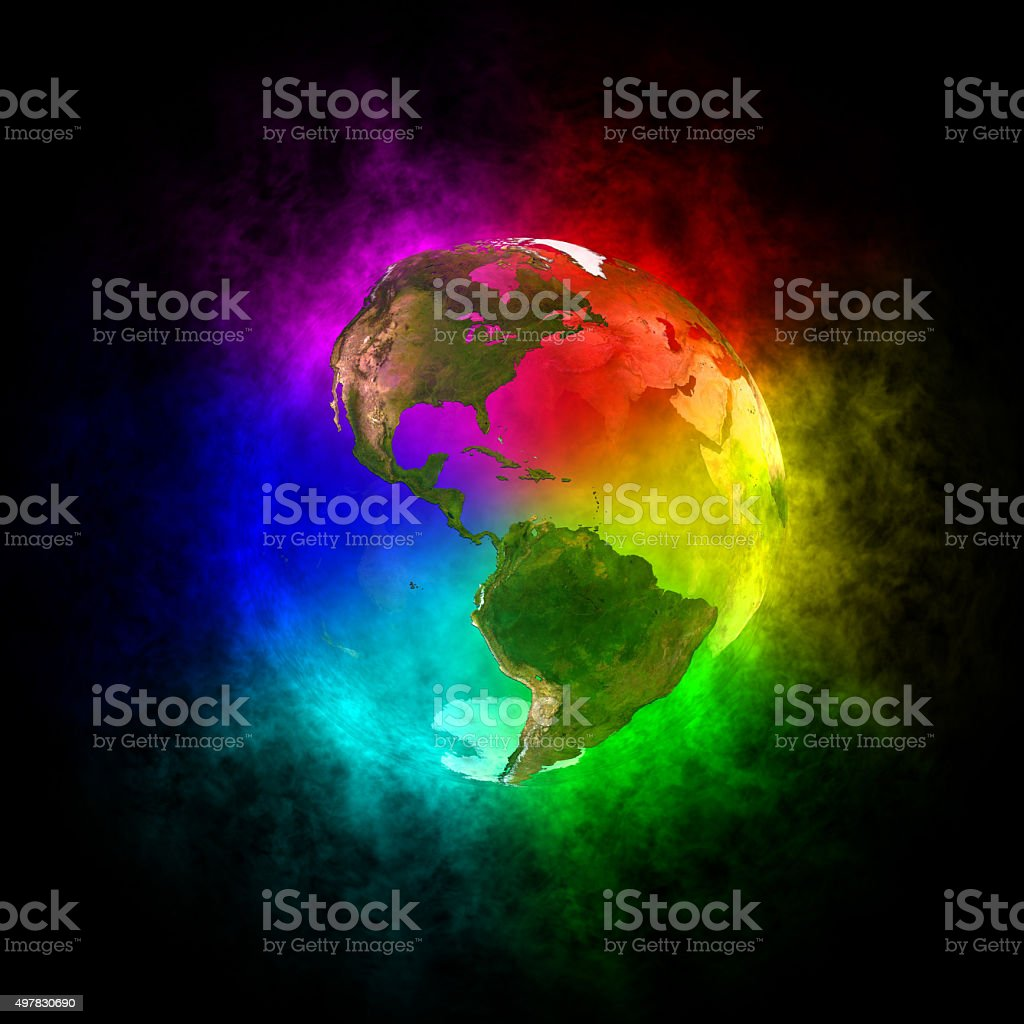 Rainbow planet Earth - America stock photo