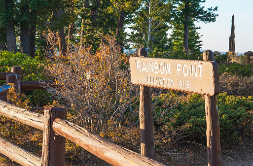 Rainbow Point sign in Bryce Canyon National Park, Utah