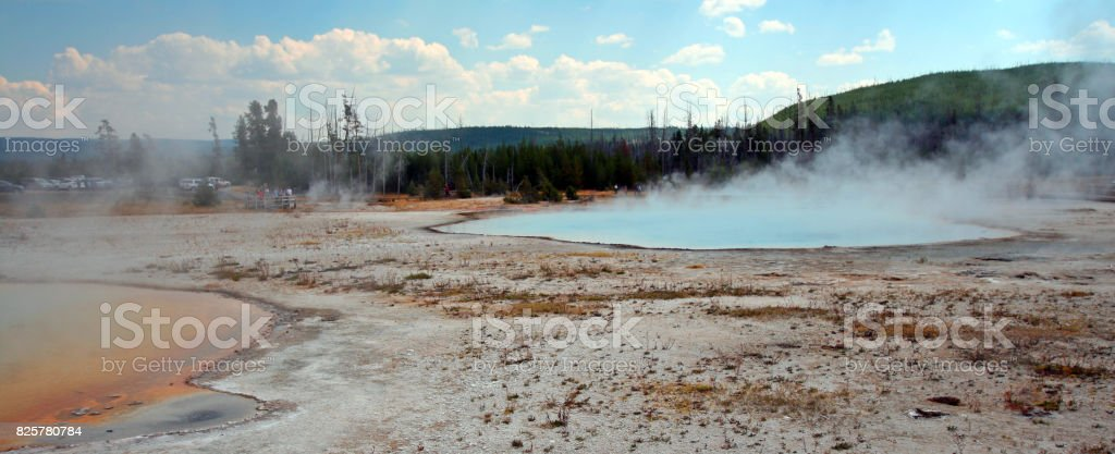 Rainbow Pool hot spring and Sunset Lake geyser in Black Sand Basin in Yellowstone National Park in Wyoming United States stock photo