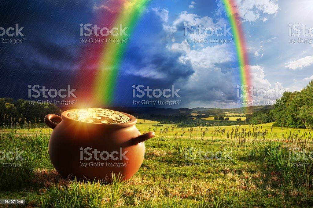 Rainbow pote de oro - foto de stock