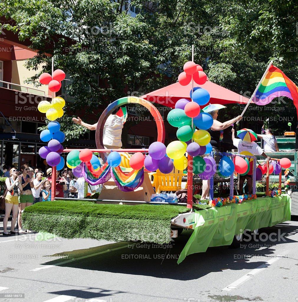 Rainbow Pride Parade Float stock photo