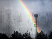 istock Rainbow & Raindrops on Glass/Window 635975112