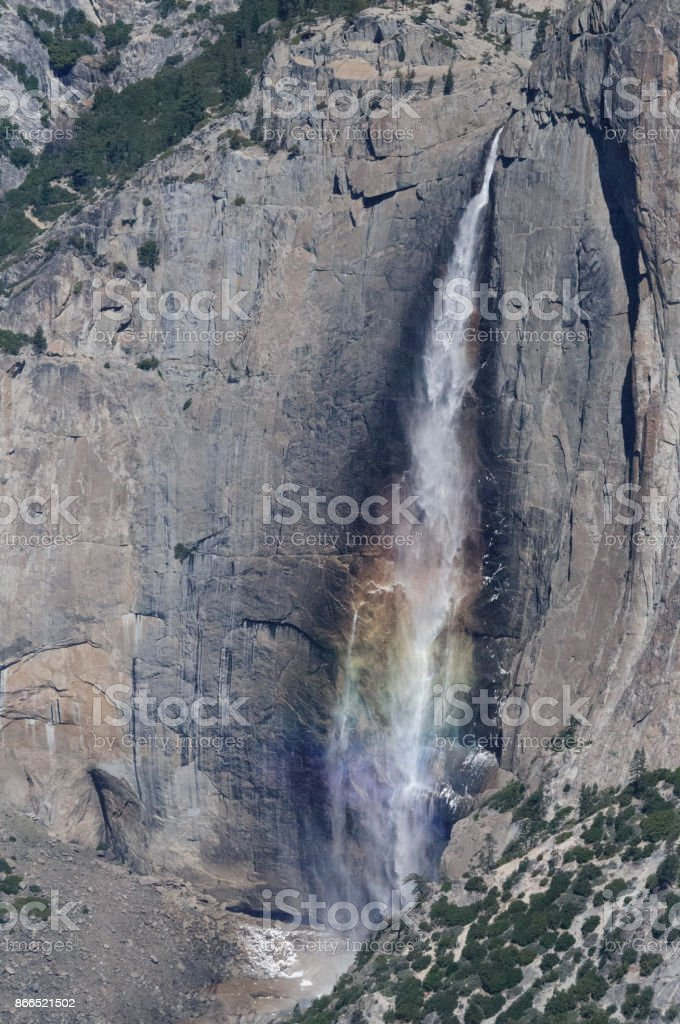Rainbow reflected in Yosemite Falls stock photo