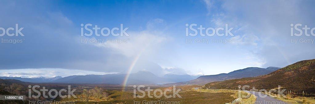 Rainbow road Scotland royalty-free stock photo