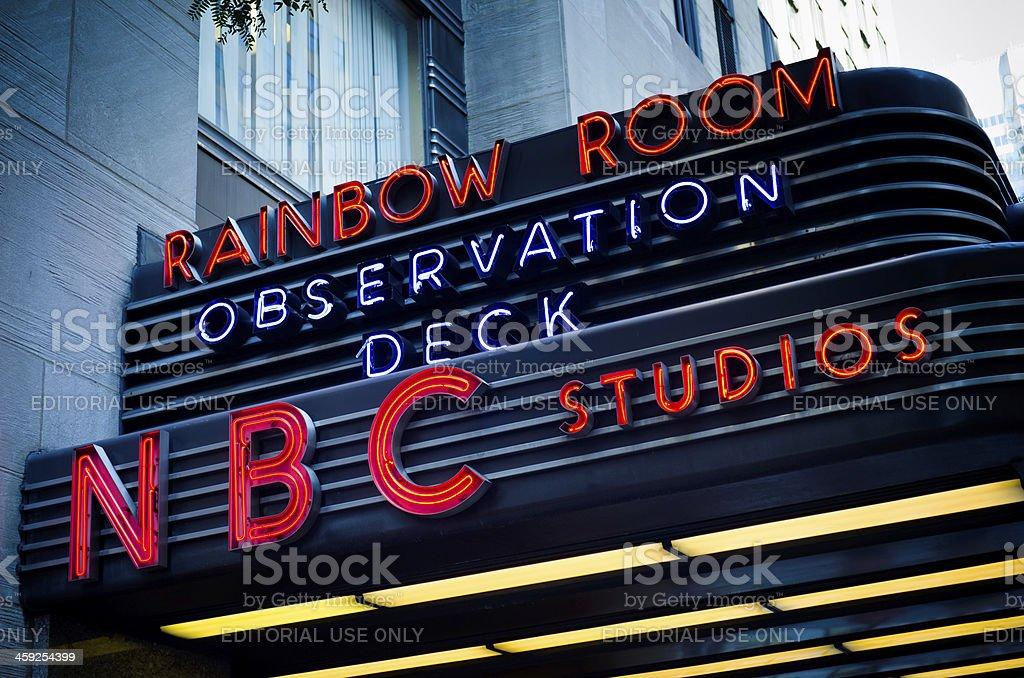Rainbow Room and NBC Studios sign at Rockefeller Center stock photo