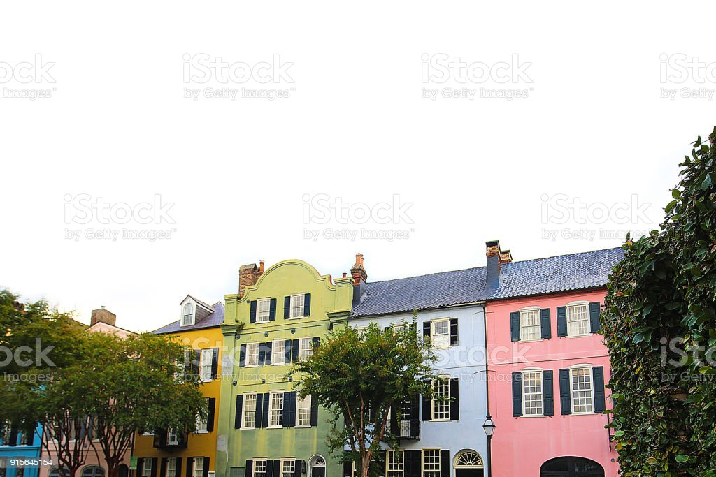 Rainbow Row Charleston South Carolina stock photo