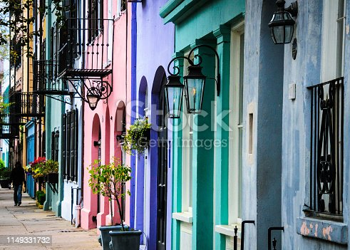 Built in the mid eighteenth century, the multicolored facades of town houses on East Bay Street in Charleston, South Carolina is known as Rainbow Row.