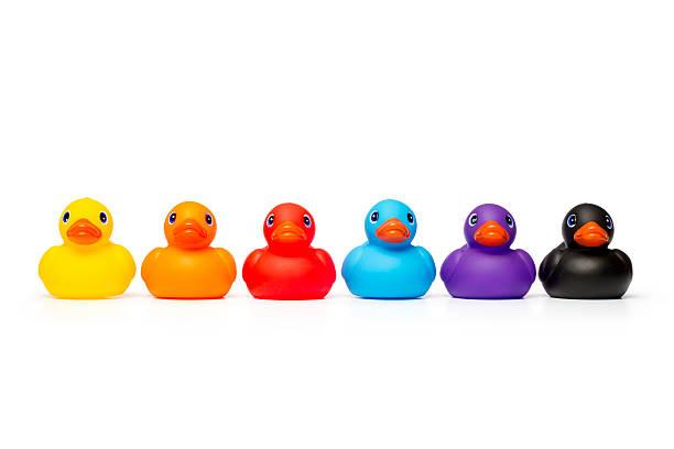 Rainbow Rubber Ducks stock photo