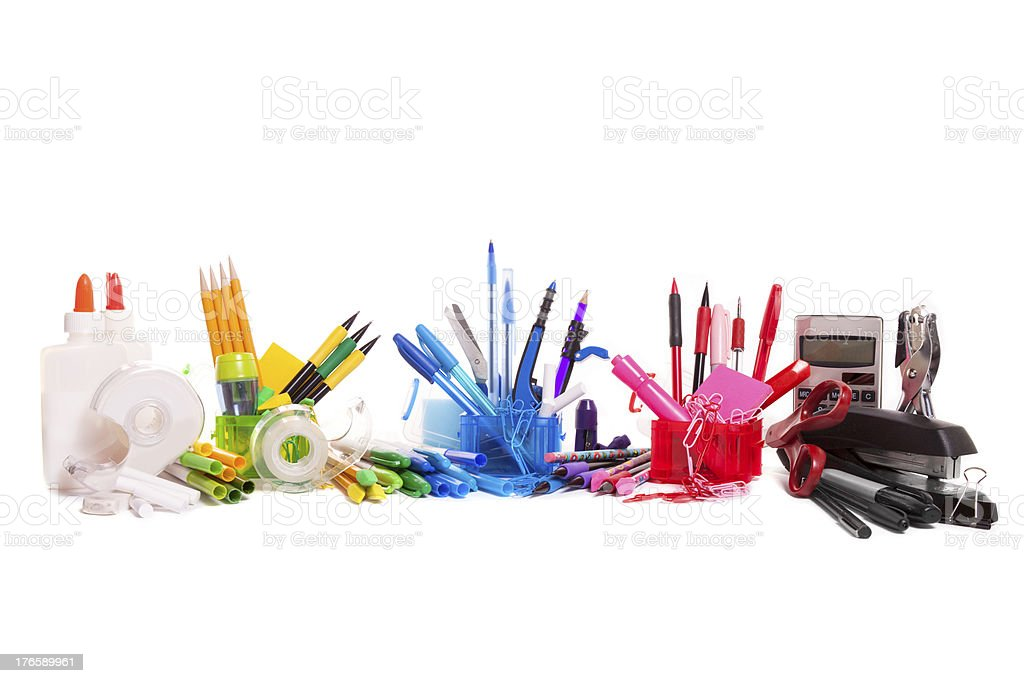 Rainbow School Supplies stock photo