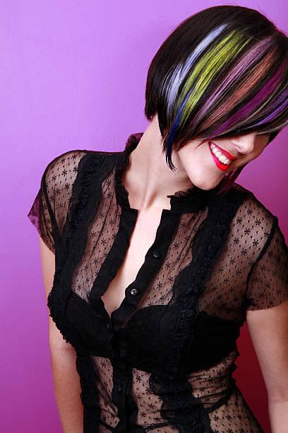 rainbow lächeln - haarverlängerungsstile stock-fotos und bilder