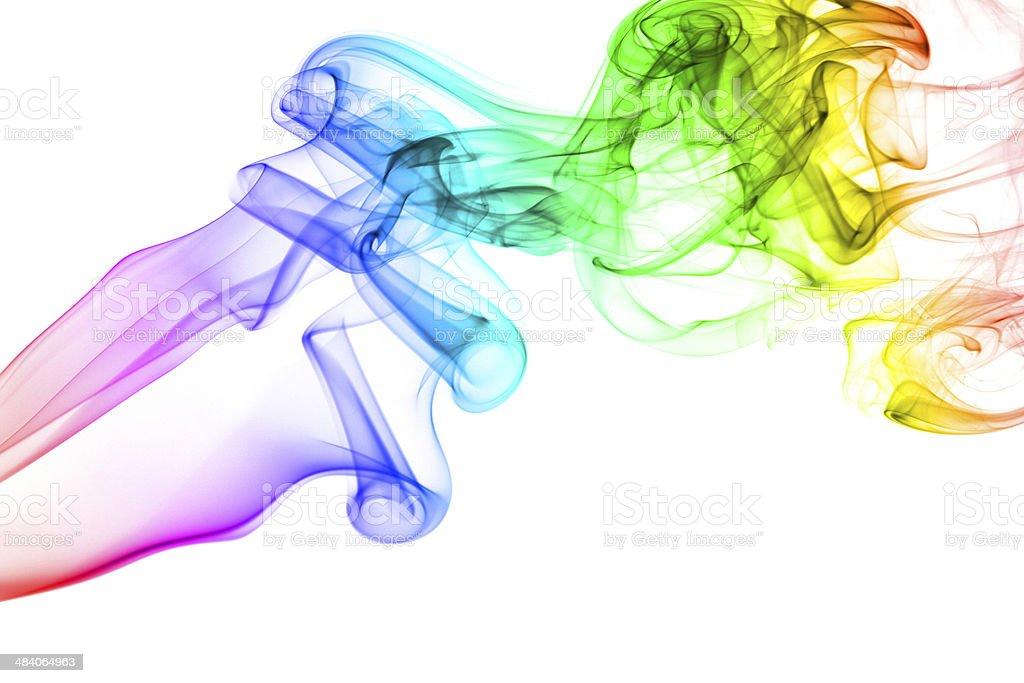 Rainbow smoke isolated on white background stock photo
