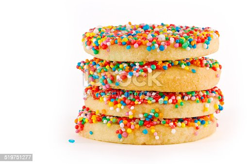 4 Rainbow-Sprinkled sugar-cookies stacked atop one another against a white background