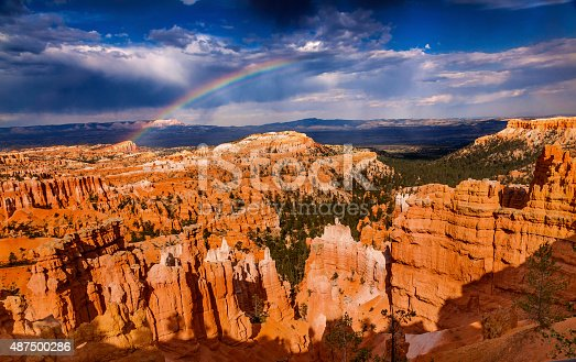 Rainbow Dark Clouds Storm Amphitheater Hoodoos Bryce Point Bryce Canyon National Park Utah