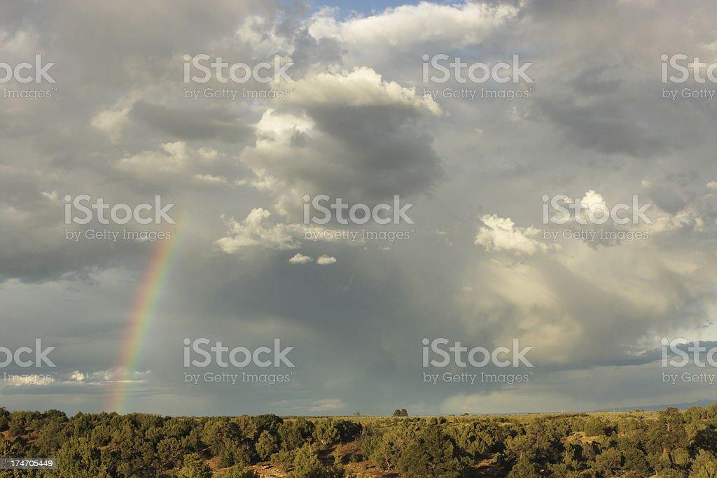 Rainbow Storm Sunset Desert Cloud stock photo