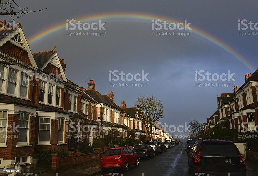 Rainbow Street stock photo