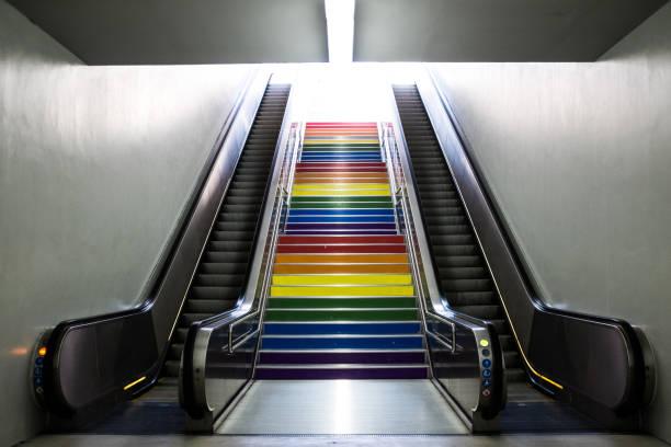 Regenbogen-U-Bahn-Treppen – Foto