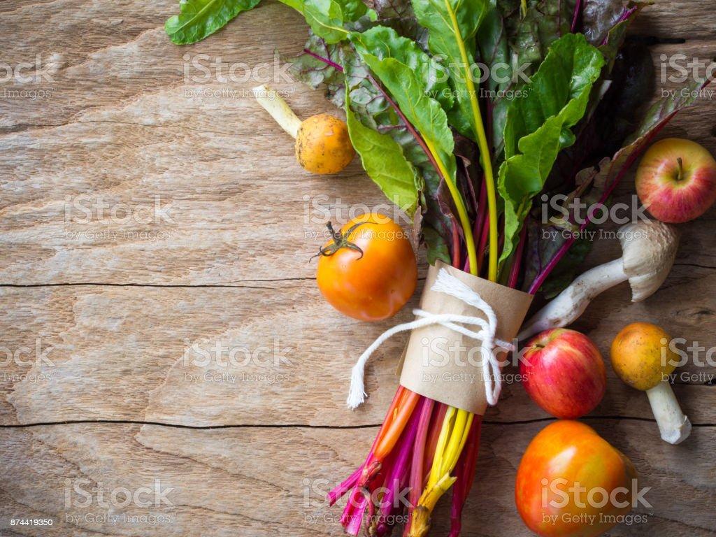 rainbow swiss chard vegetable,mushroom,apple and tomato.. stock photo