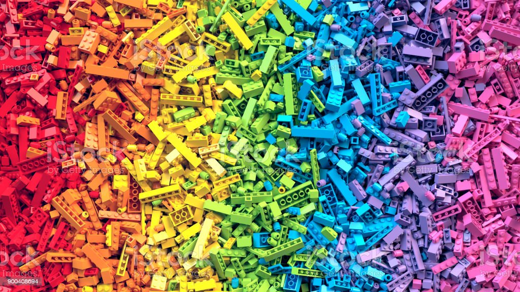 Rainbow toy blocks background. 3D Rendering royalty-free stock photo