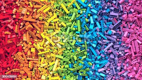 istock Rainbow toy blocks background. 3D Rendering 900408694
