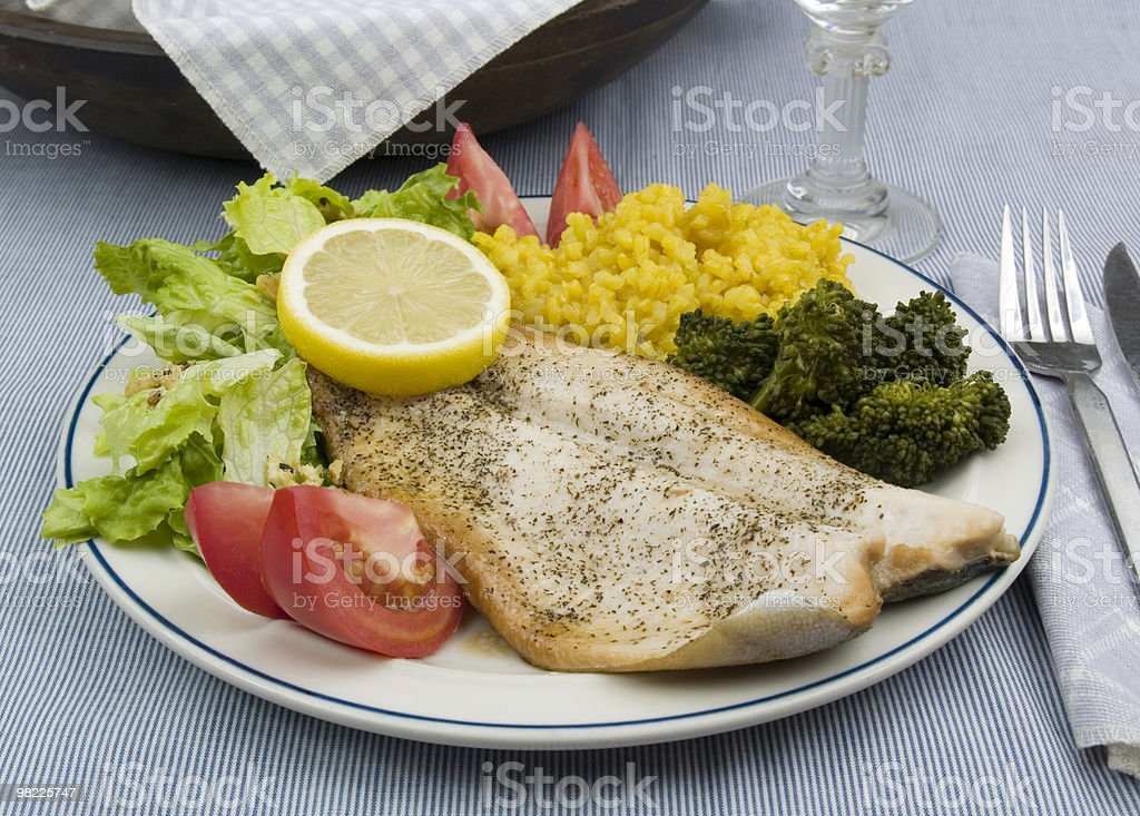 Rainbow trout dinner royalty-free stock photo