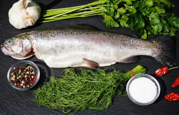 rainbow trout - peixe na grelha imagens e fotografias de stock