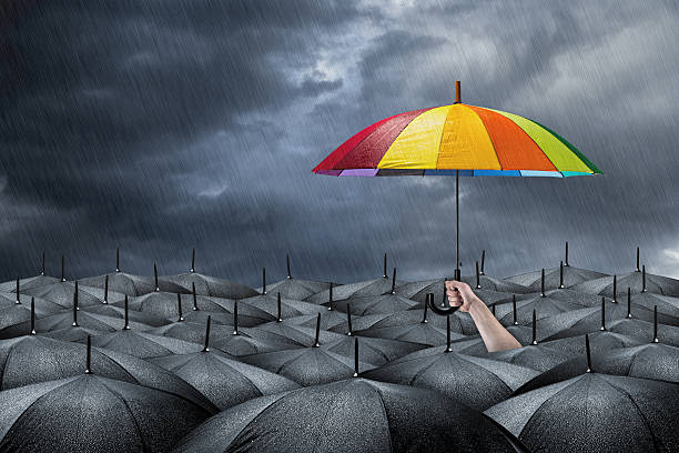 rainbow umbrella concept - love emotion stock photos and pictures