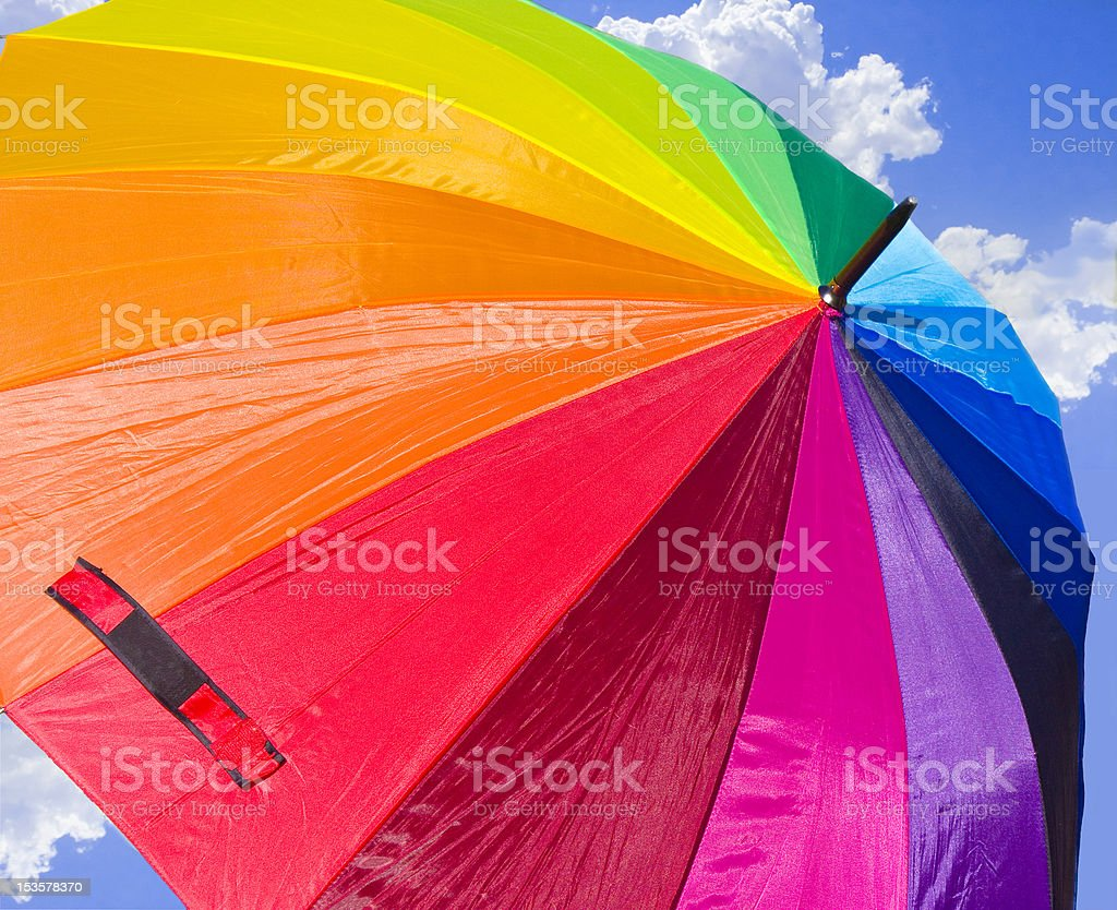 Rainbow Umbrella in the sky royalty-free stock photo