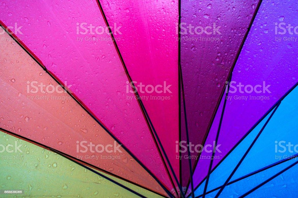 Rainbow umbrella inside stock photo