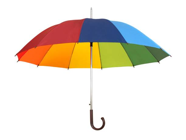 Rainbow umbrella on white stock photo