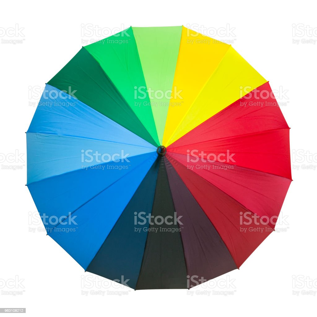 rainbow umbrella red green blue yellow orange purple black color for rain and sun protect on white background and top view with isolated included clipping path stock photo