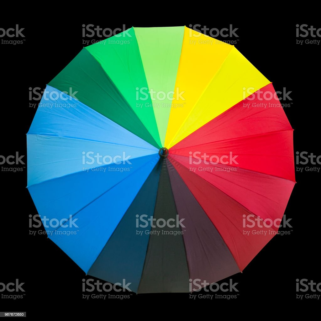 rainbow umbrella red green blue yellow orange purple black color for rain and sun protect on black background and top view with isolated included clipping path stock photo