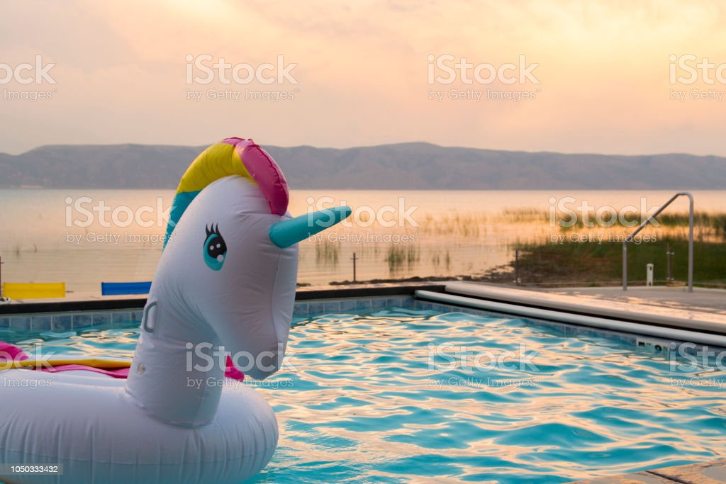 Rainbow Unicorn on Golden Water - foto stock
