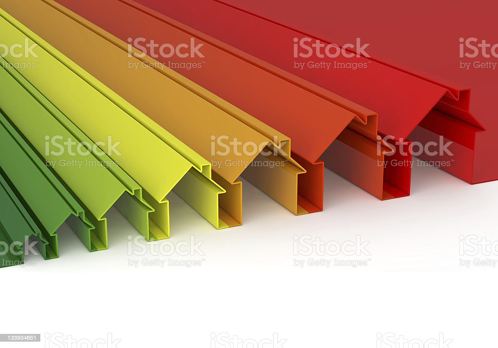 Rainbow vector house outlines starting small and getting big stock photo