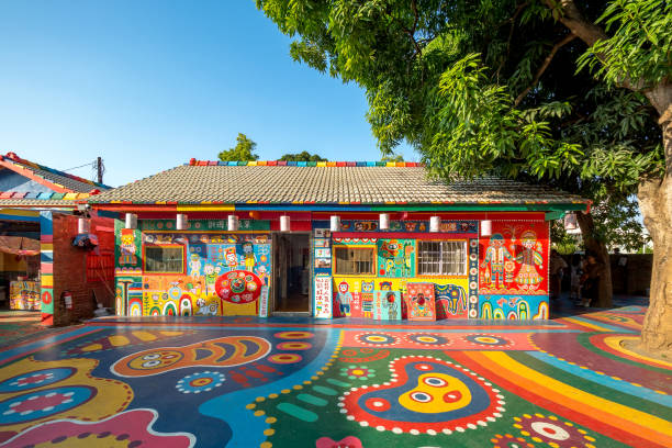 Rainbow Village in Taichung City. stock photo