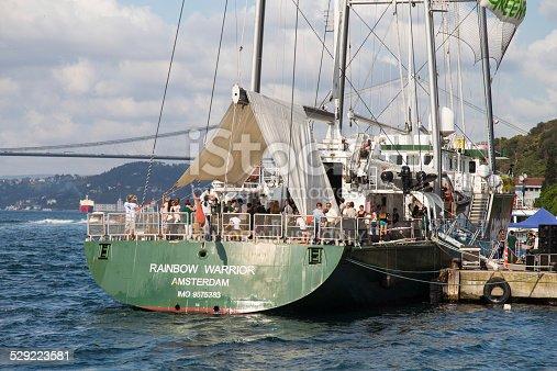 Istanbul, Turkey - September 7, 2014: Greenpeace Rainbow Warrior ship opened to public in Pasalimani Port.