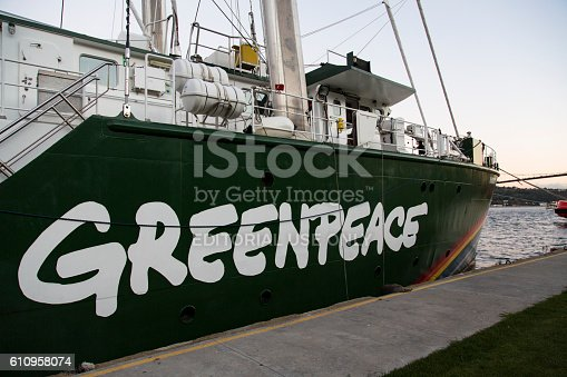 Istanbul, Turkey September 20, 2016 : Greenpeace's famous ship Rainbow Warrior visited Istanbul for creating awareness about renewable energy in Bosporus, Istanbul, Turkey.