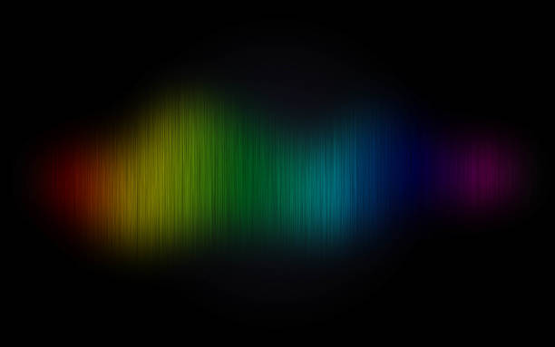 Rainbow wave on black abstract background stock photo