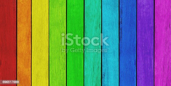 Empty, rainbow colored wood background, texture with copy space