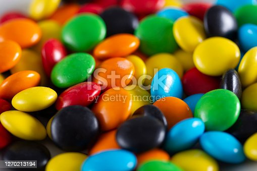 istock Rainbow-colored candies, multicolored close-up, texture, background. 1270213194