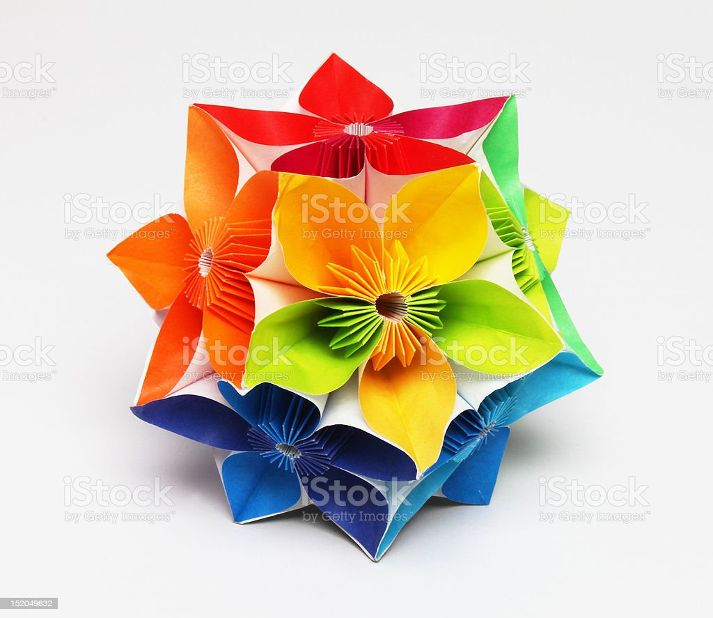 Rainbowcolored origami flower ball stock photo more pictures of rainbow colored origami flower ball royalty free stock photo mightylinksfo