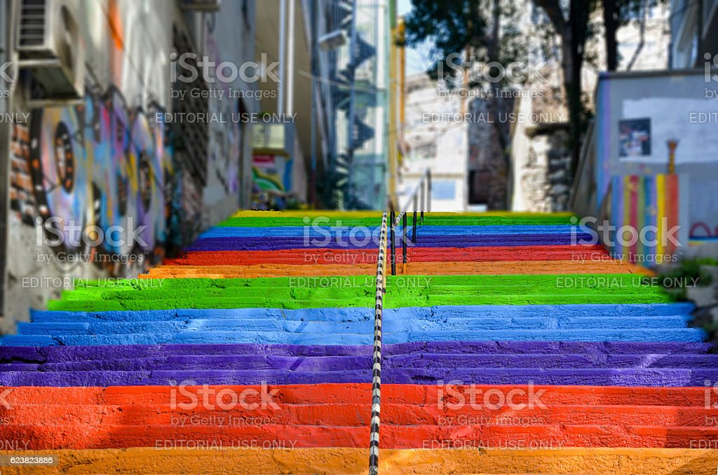 Rainbow-colored stairs stock photo