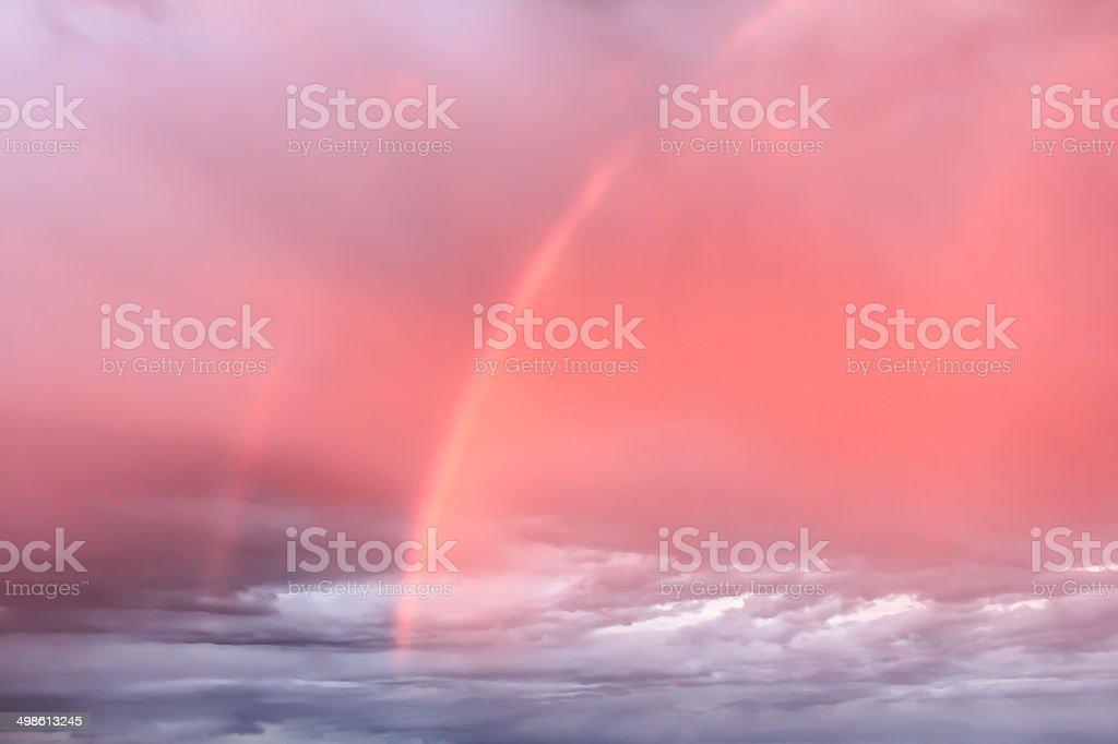 Rainbows in the sky stock photo